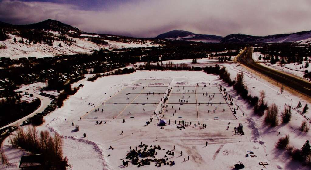 A drone shot of the action at this past weekend's Colorado Youth Pond Hockey Tournament at North Pond Park in Silverthorne. | Photo from Michael Ascher