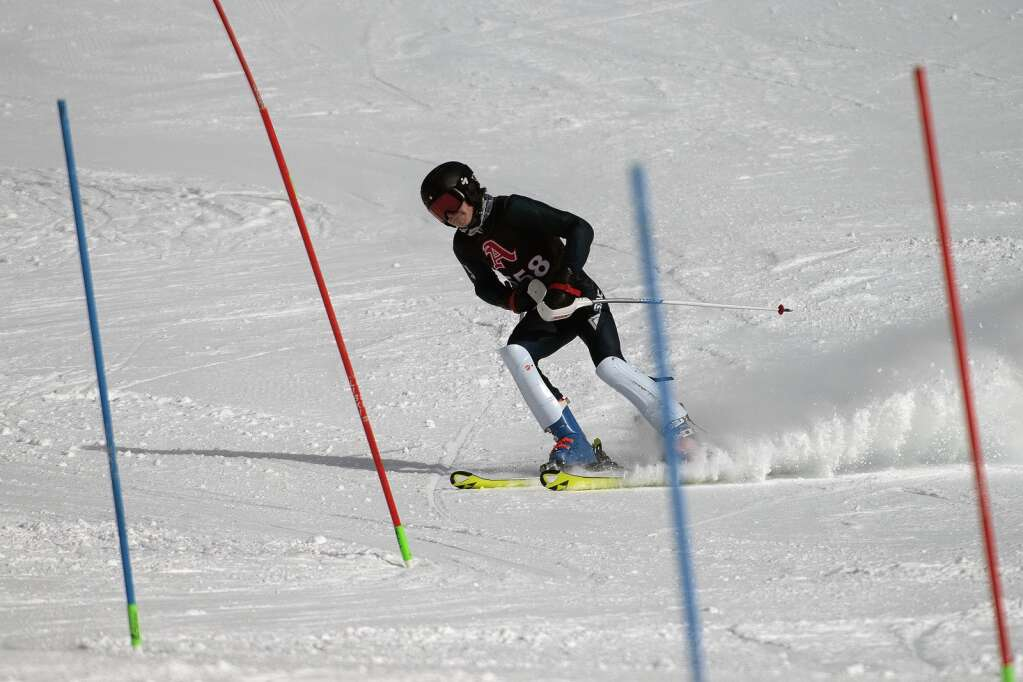 Aspen High School Alpine ski team racer Sasha Forman grimaces after clipping a gate while skiing the slalom course during the Colorado High School State Alpine Ski Championships at Loveland Valley Ski Area on Thursday, March 11, 2021. | Photo by Jason Connolly / Jason Connolly Photography
