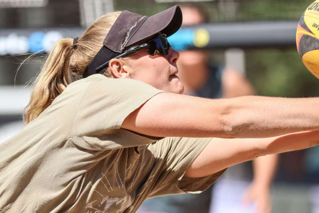 Katie Pyles competes in the women's open finals of the MotherLode Volleyball Classic on Monday, Sept. 6, 2021, at Koch Lumber Park in Aspen. Photo by Austin Colbert/The Aspen Times.