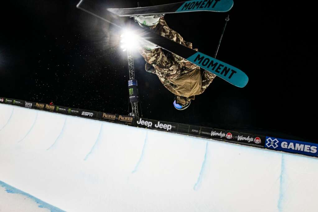 American freestyle skier David Wise airs out of the superpipe during a practice for the 2021 X Games Aspen at Buttermilk on Thursday, Jan. 28, 2021. (Kelsey Brunner/The Aspen Times)