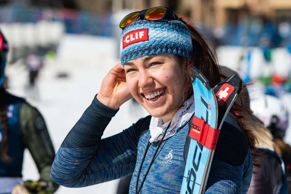 American alpine skier Lila Lapanja stands at the base of Aspen Highlands after placing first in the Women's Alpine Combined National Champinoships on Wednesday, April 14, 2021. (Kelsey Brunner/The Aspen Times)