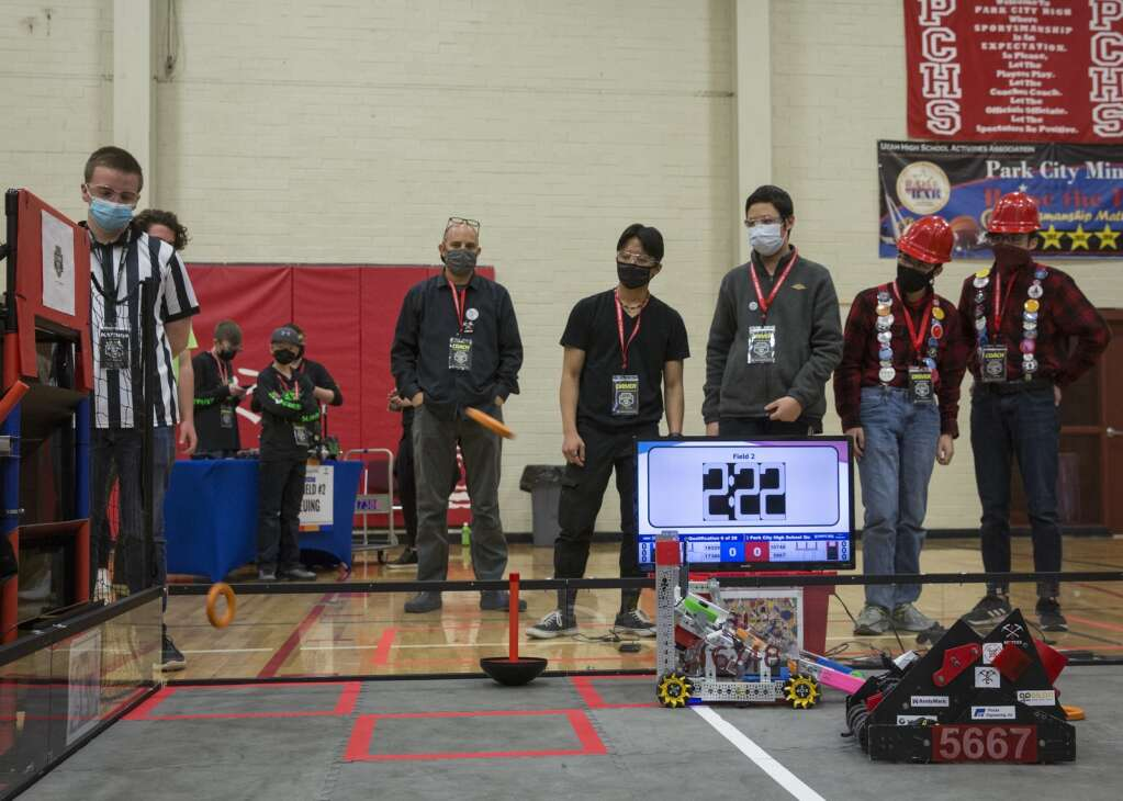 Team 5667 Robominers compete in an FTC qualifying match during the Park City Qualifier on Saturday, April 3, 2021, with their alliance. (Tanzi Propst/Park Record)