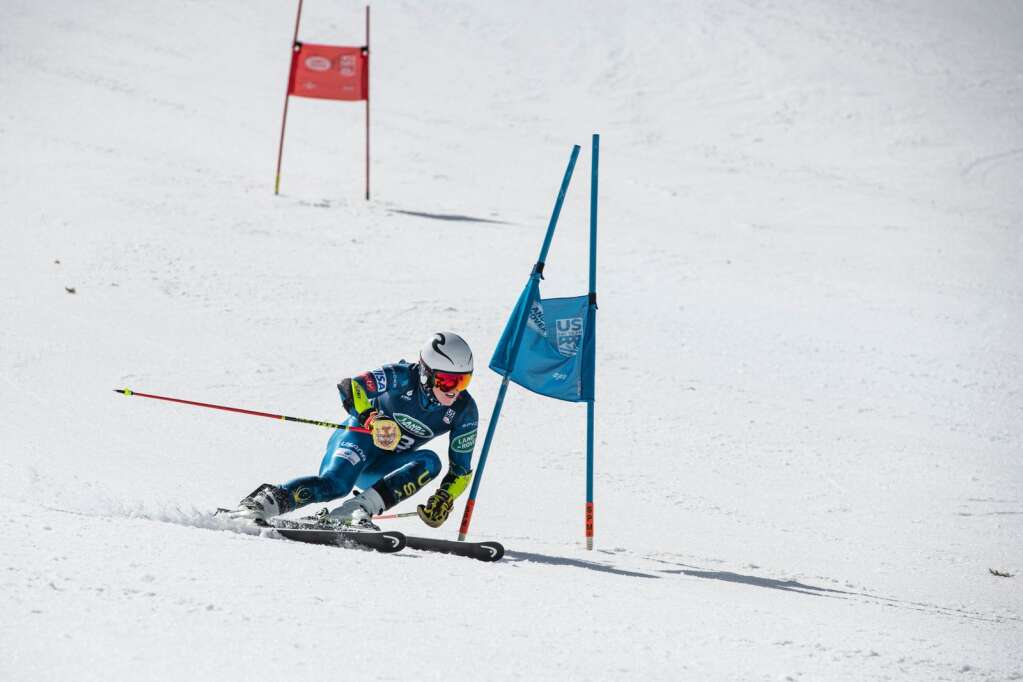 Glenwood Springs local alpine skier Cooper Cornelius navigates the U.S. Alpine Men's Giant Slalom Championship course at Aspen Highlands on Tuesday, April 6, 2021. Cornelius finished in the fifteenth spot. (Kelsey Brunner/The Aspen Times)