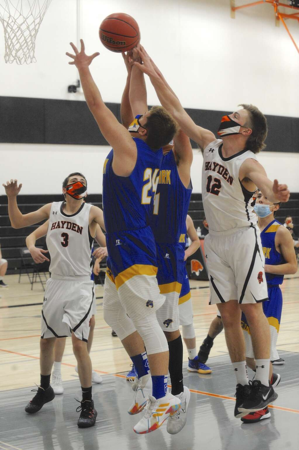 Hayden senior Liam Frentress tips a rebound during a game against North Park on Friday night. (Photo by Shelby Reardon)