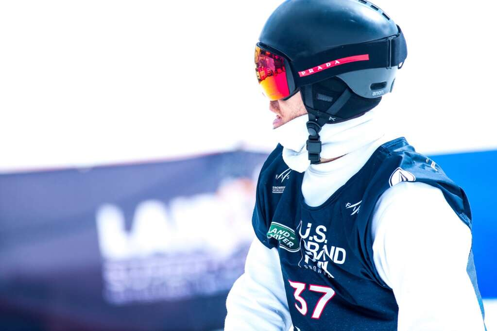 Shaun White looks away after a disappointing run in the men's snowboard halfpipe final of the U.S. Grand Prix and World Cup on Sunday, March 21, 2021, at Buttermilk Ski Area in Aspen, Colo. Photo by Austin Colbert/The Aspen Times.