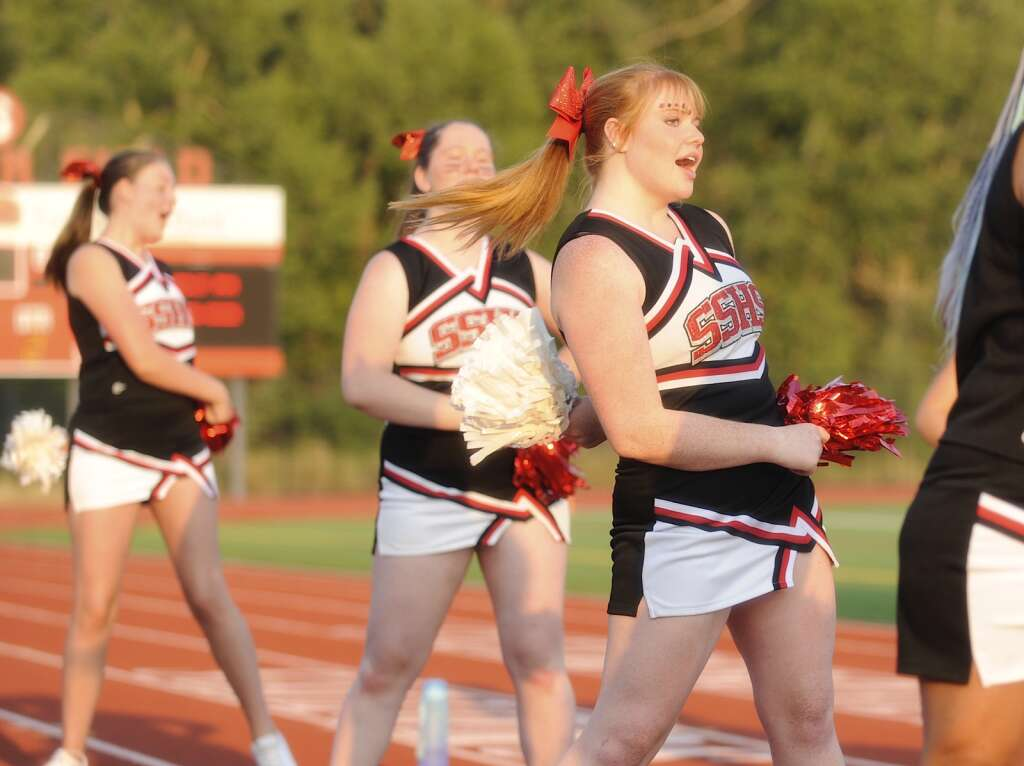 The Sailors cheerleading squad gathered a large crowd at Steamboat Springs' season-opening football game against Valley High School on Saturday night.  (Photo by Shelby Reardon)