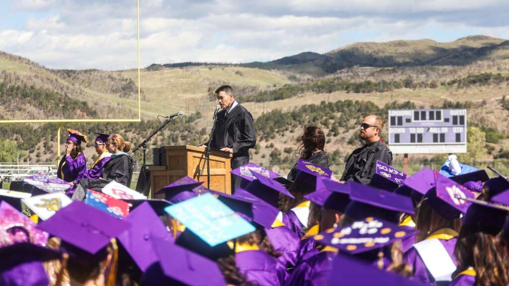 Basalt High School Principal Peter Mueller talks during the school's graduation ceremony on Saturday, May 22, 2021, on the BHS football field. Photo by Austin Colbert/The Aspen Times.