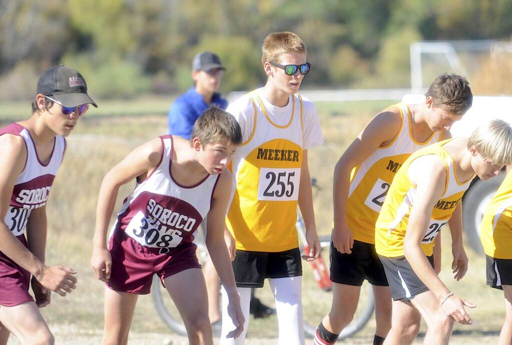 Soroco's boys team of Wyatt Trout and Alan Mayer line up at the start at a cross country meet at Loudy-Simpson Park in Craig on Saturday morning.   Shelby Reardon/Steamboat Pilot & Today