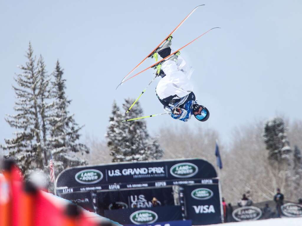Tristan Feinberg competes in the men's freeski halfpipe finals of the U.S. Grand Prix on Sunday, March 21, 2021, at Buttermilk Ski Area in Aspen. Photo by Austin Colbert/The Aspen Times.