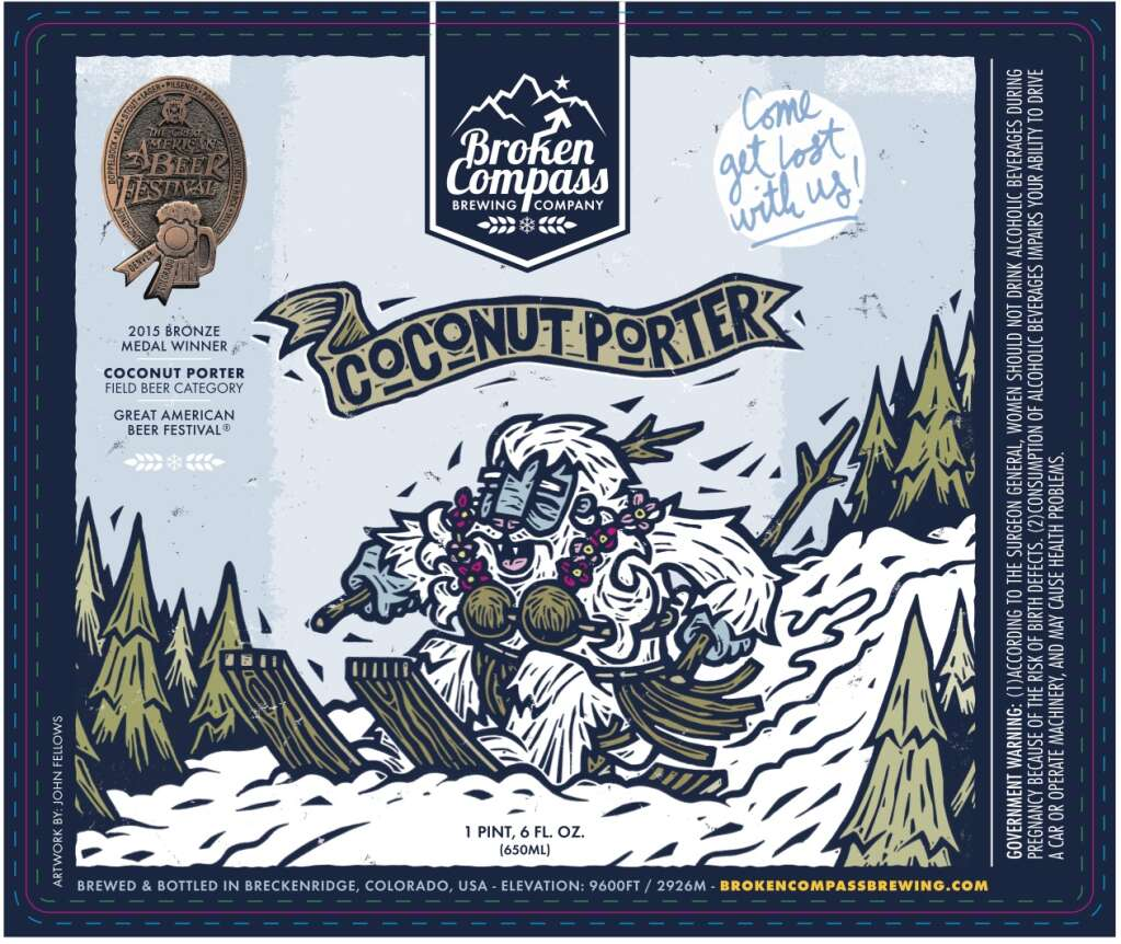 John Fellows of Crested Butte uses linocuts to make Broken Compass Brewery's labels. Once carved, he scans it into the computer to add color and typography. | Image by John Fellows