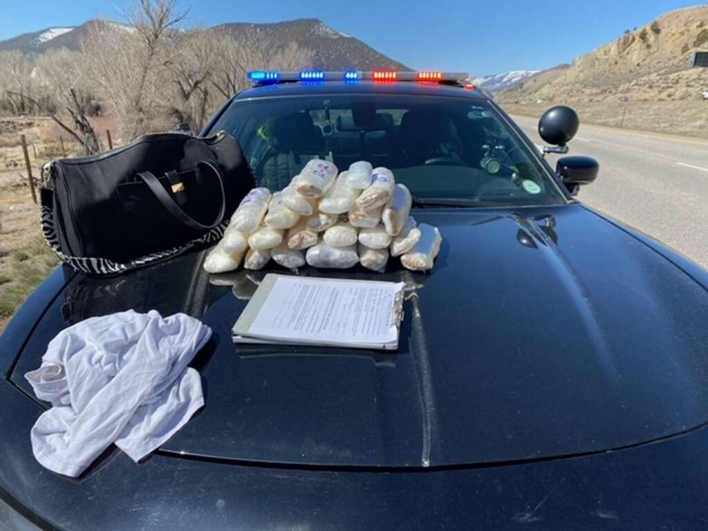 During a traffic stop on Interstate 70 on Thursday morning, deputies seized 21 pounds of suspected methamphetamine, 2.2 pounds of suspected heroin and a quarter-pound of suspected fentanyl pills. Two Arizona men were arrested, Iran O. Torres, 19, and Guadalupe Valdez Tolleson, 21.