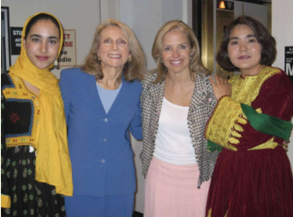 Paul Nirschel, founder of Action or Afghan Women, along with Katie Couric and two former students of The Initiative to Educate Afghan Women students.
