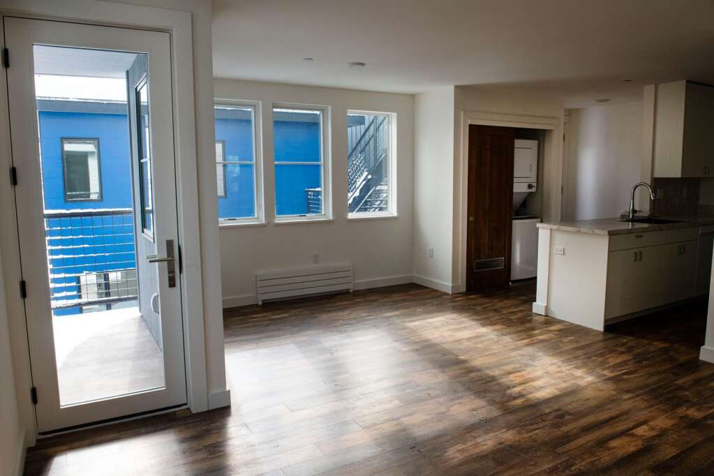 A second floor unit at 210 W. Main St. includes a private balcony, two bedrooms and a washer and dryer in Aspen on Friday, Feb. 5, 2021. (Kelsey Brunner/The Aspen Times)