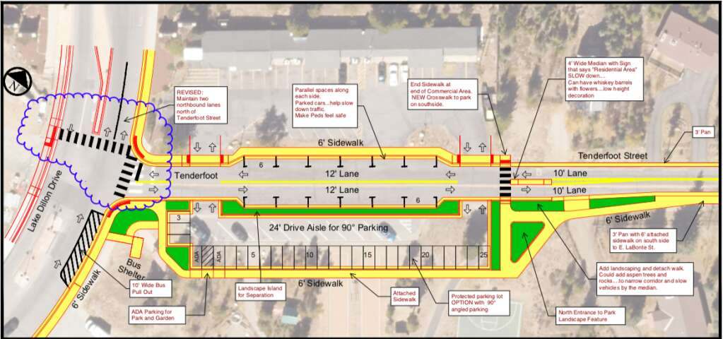 A conceptual design showing plans for the new Tenderfoot Street reconstruction set to take place later this year. | Map from town of Dillon