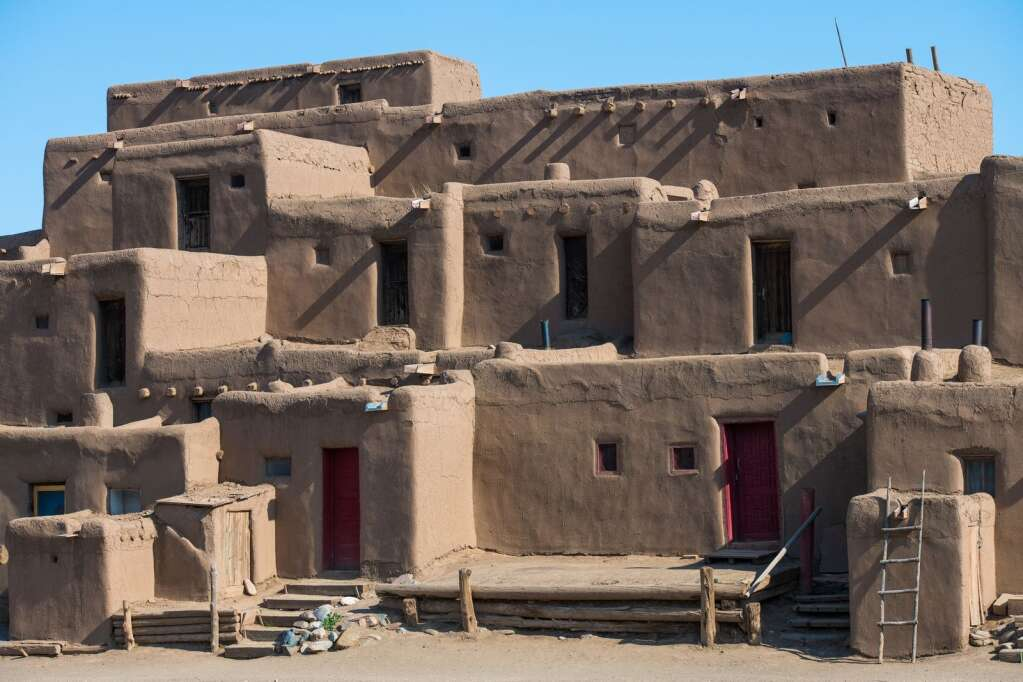 The Taos Pueblo, which lies on the north boundary of town, was built somewhere between 1000 and 1450 A.D. and is considered to be one ofthe oldest continuously inhabited communities in the United States. | Courtesy Taos Ski Valley