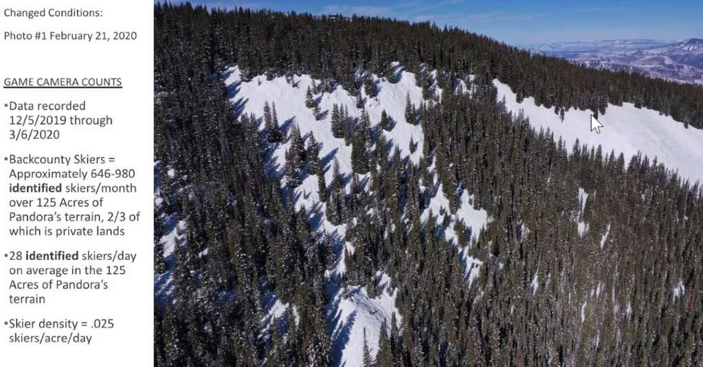 Aspen Skiing Co. wants to expand Aspen Mountain ski area into the Pandora's terrain, at left in the photo. The existing Walsh's terrain is the open patch in the upper right. | Courtesy photo