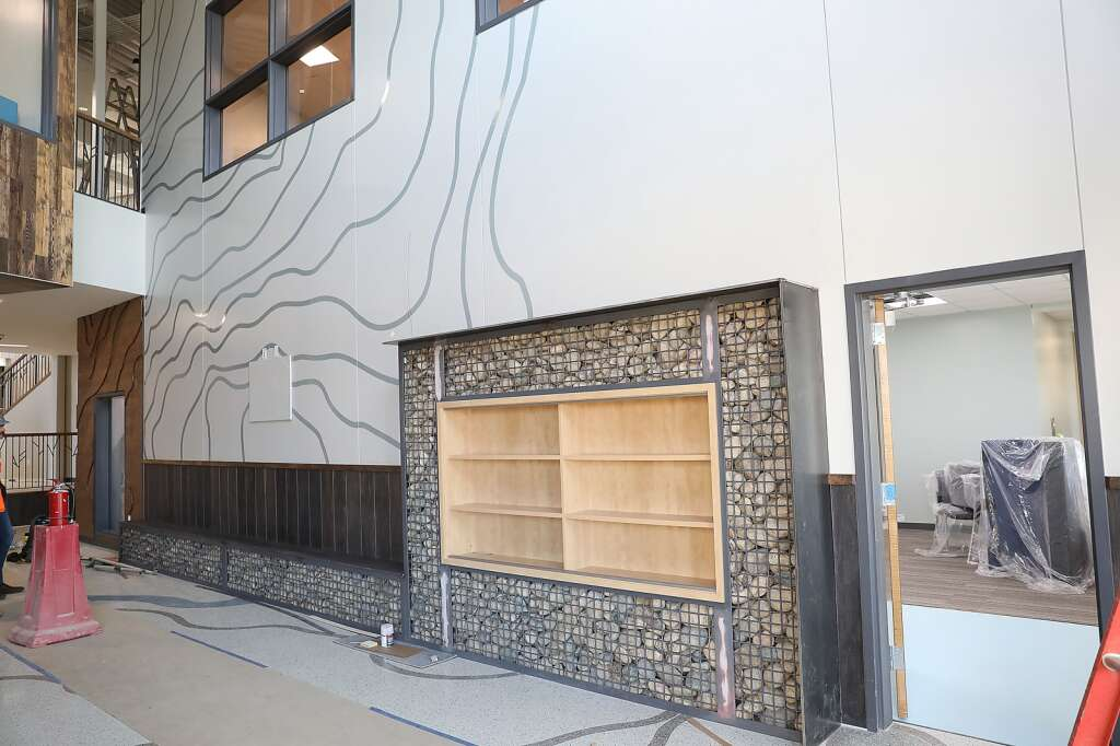 Students entering the new Sleeping Giant School will be greeted by plenty of details that were inspired by the landscape outside. (Photo by John F. Russell)