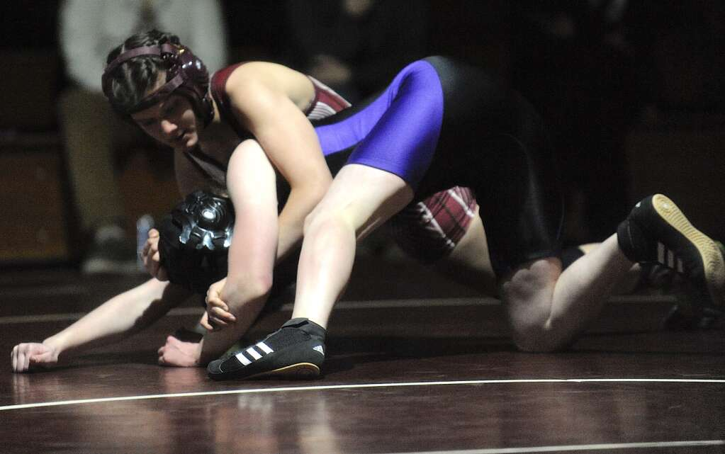 Soroco junior Emi Ramirez gains control of her Middle Park opponent at the Soroco Duals event on Friday afternoon. (Photo by Shelby Reardon)