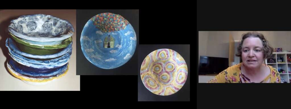 Aspen Community School art teacher Hilary Forsyth presents photos of student-painted ceramic bowls during this year's