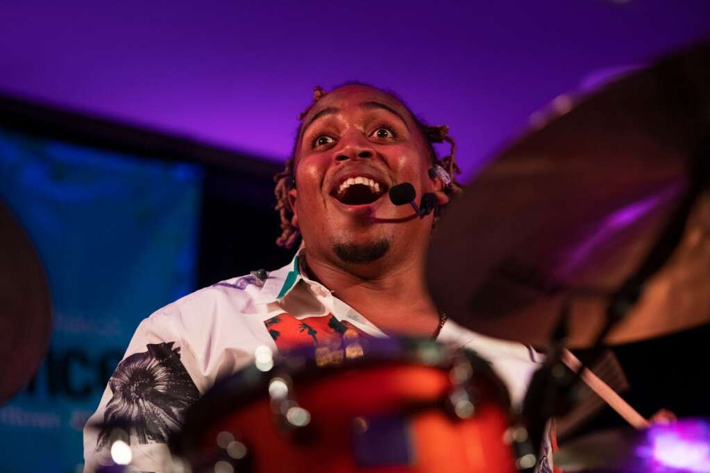 Jamison Ross performs for a crowd at the Little Nell during the JAS June Experience in downtown Aspen on Friday, June 25, 2021. (Kelsey Brunner/The Aspen Times)