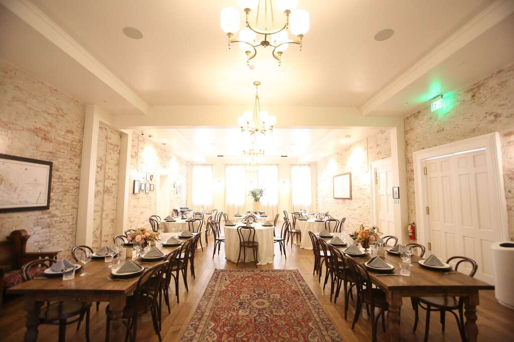 The main dining hall is available for reservations and private parties at the Holbrooke Hotel. Events, including weddings, have already begun booking for 2021.   Photo: Elias Funez