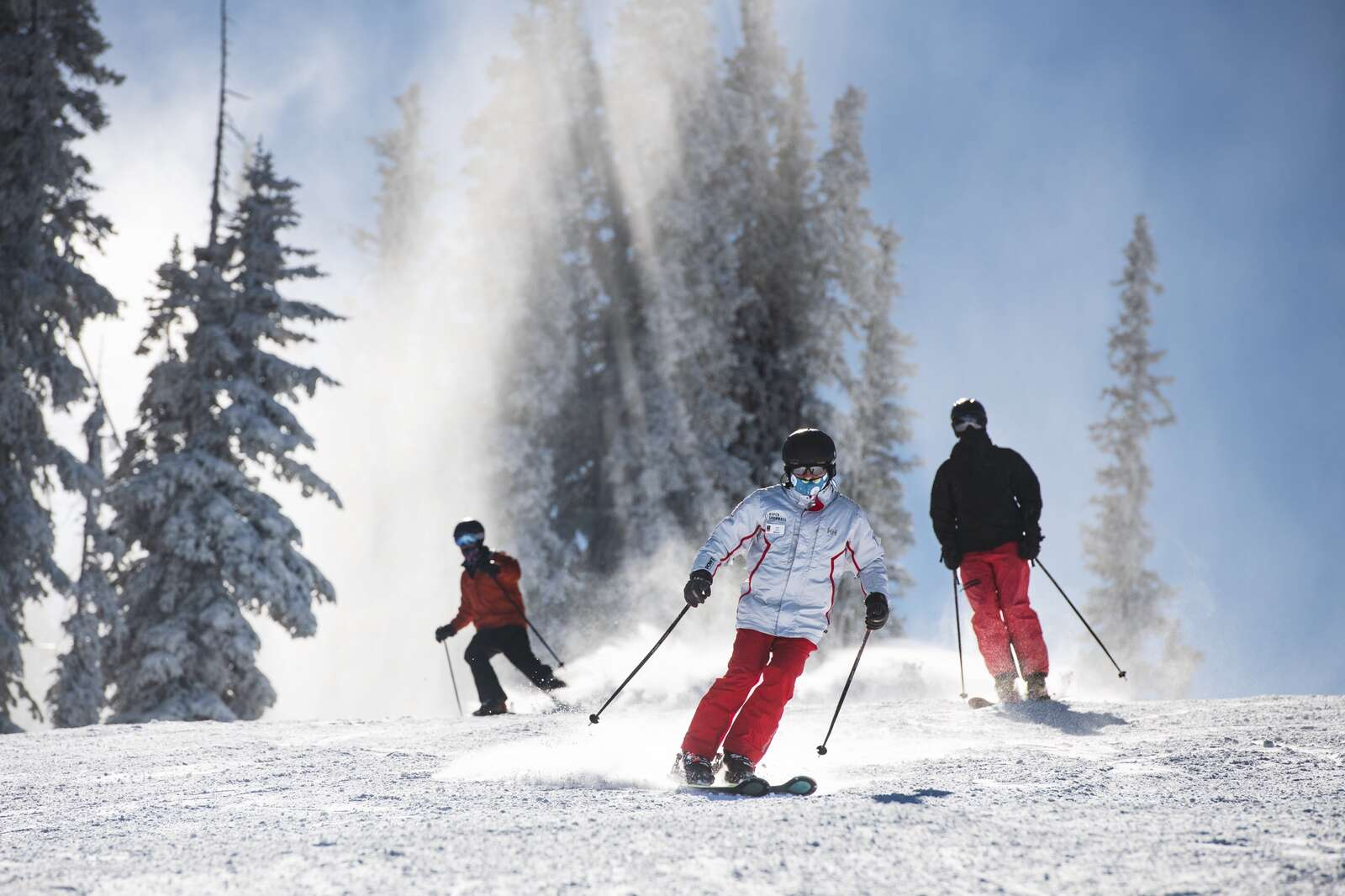 Skiers enjoy freshly made snow on Aspen Mountains opening day on Wednesday, Nov. 25, 2020. (Kelsey Brunner/The Aspen Times)