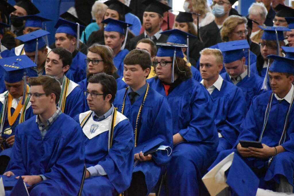 Members of the Class of 2021 look on during a speech Saturday. (Joshua Carney / Craig Press)