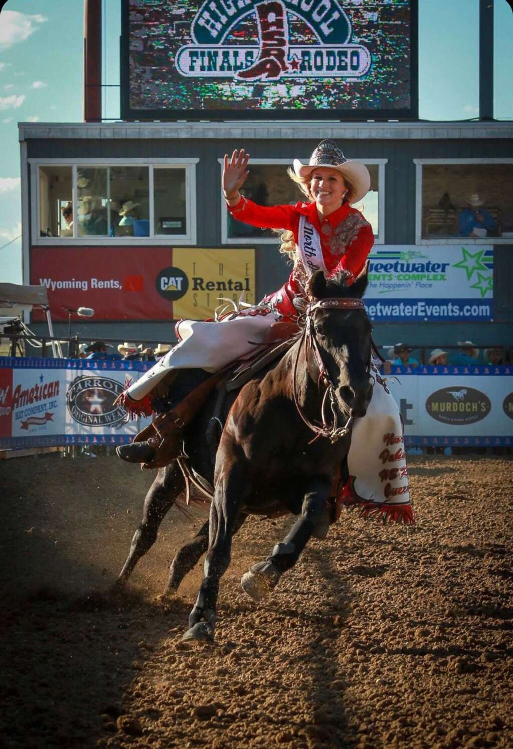 Aspen Hennessy makes a hot lap at the National High School Finals Rodeo as the 2019-20 Miss North Dakota High School Rodeo queen. The Du Lacs, N.D. cowgirl holds her second title, as Miss North Dakota Teen USA. Photo by Craig Maley Photography