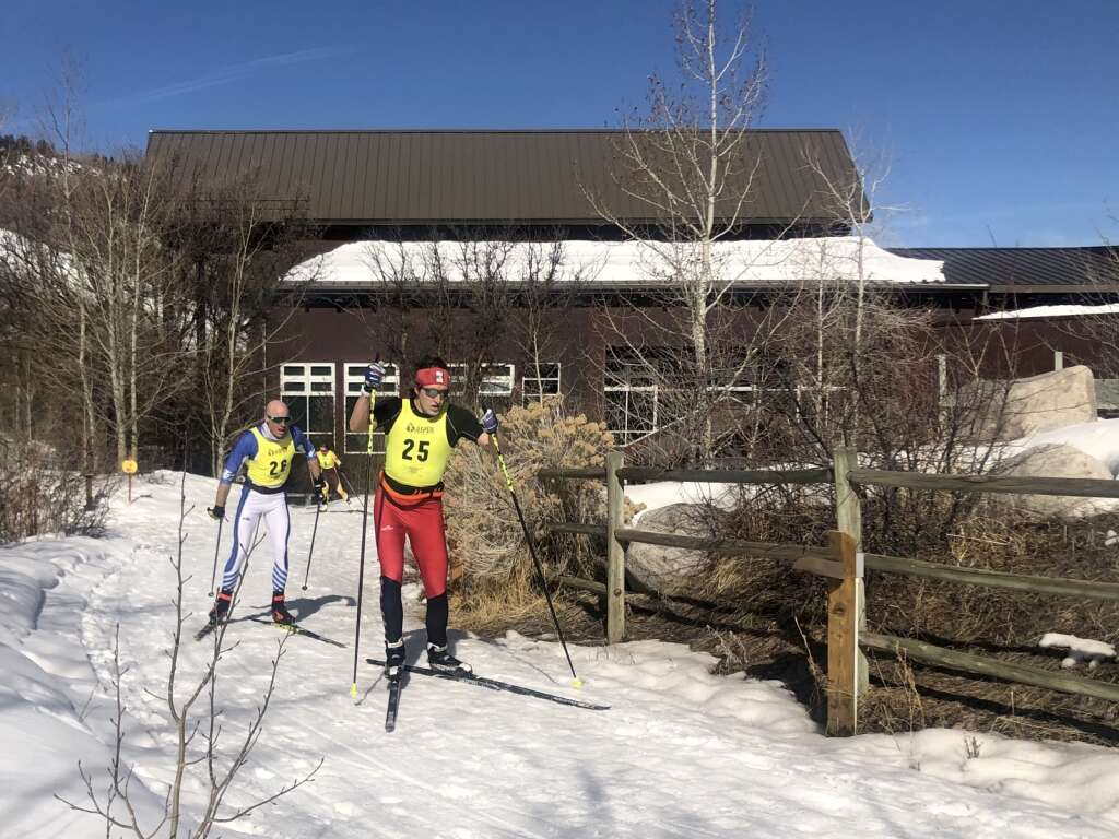 Chris Marcione pursues Jamie Mothersbaugh during the the Owl Creek Chase cross-country ski race in Aspen on March 7, 2021. | Kaya Williams/The Aspen Times