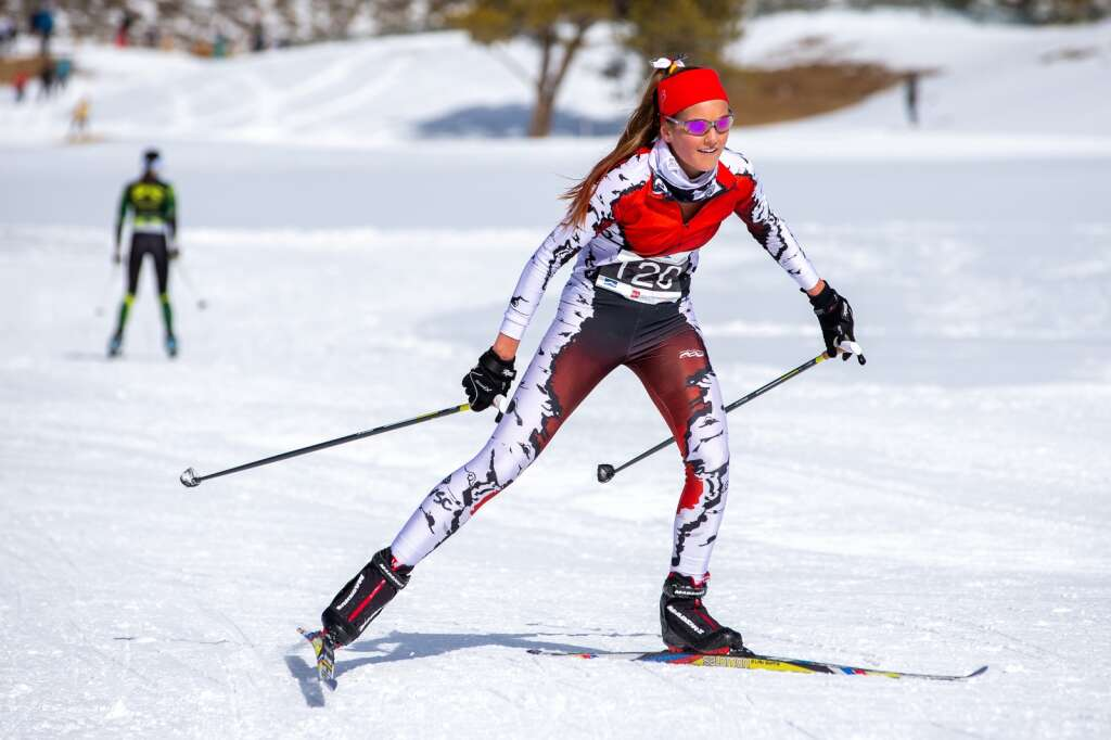 Aspen's Kylie Kenny competes in the 3K girls skate race at the 2021 Colorado Nordic Ski State Championships held at the Gold Run Nordic Center in Breckenridge on Saturday, March 6. | Photo by Liz Copan / Studio Copan