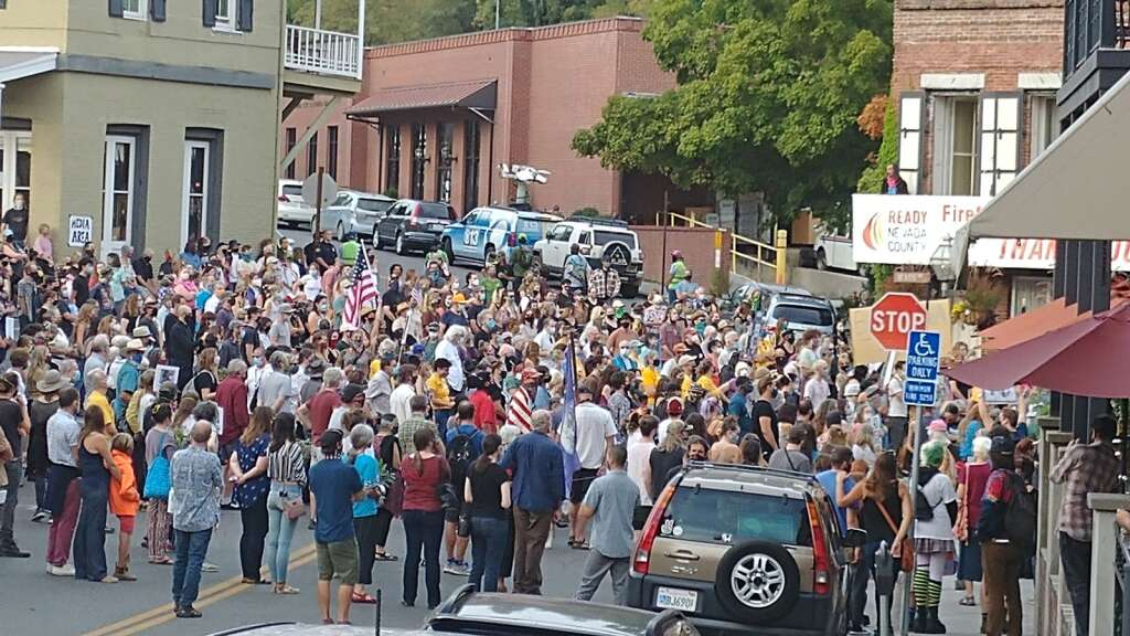 Hundreds of people showed up Saturday evening Sept. 28 to Nevada City's Robinson Plaza where a vigil was held to honor black lives lost since the death of George Floyd, including Breonna Taylor. | Photo: Elias Funez