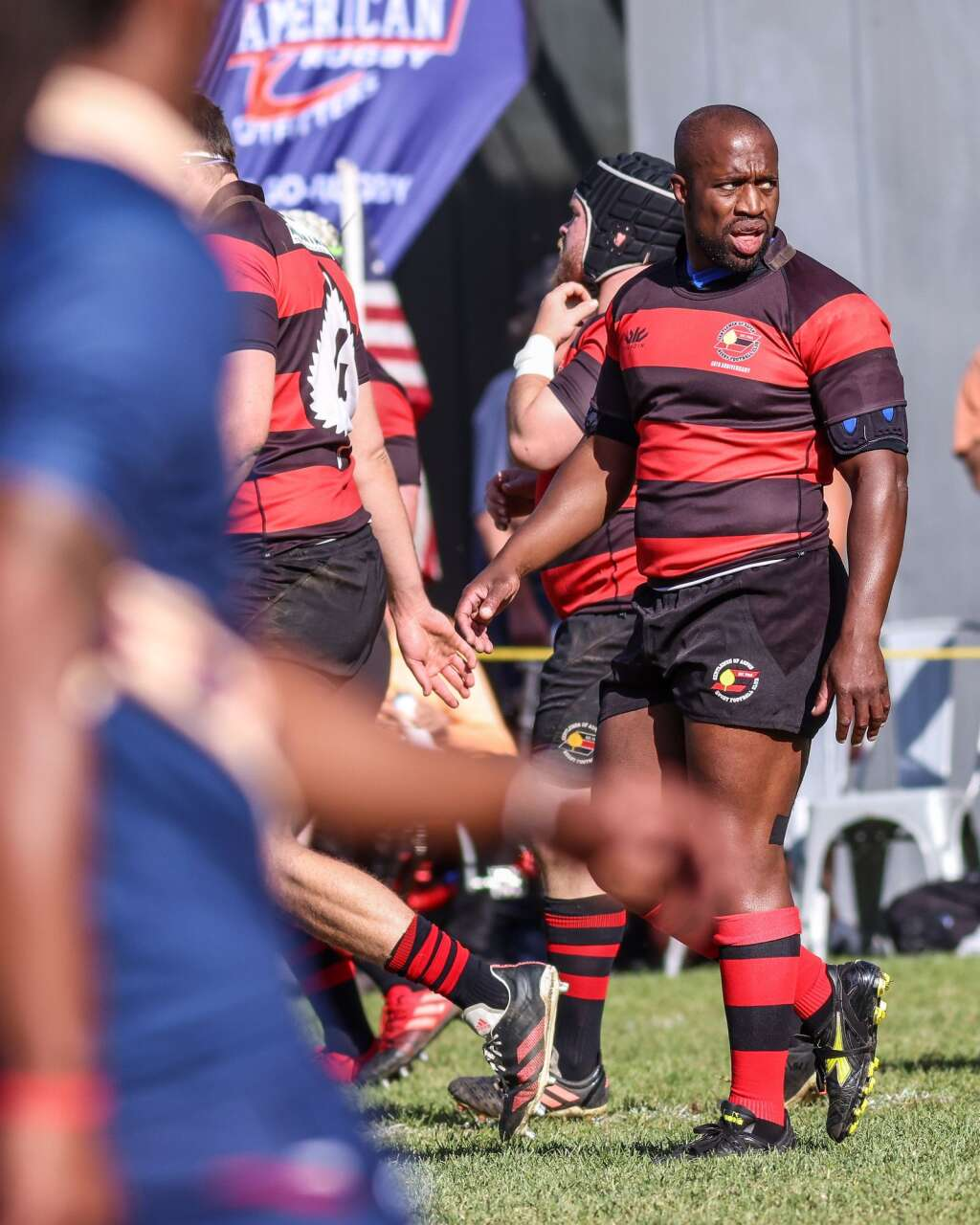 The Gentlemen of Aspen Rugby Club's Simon Dogbe looks at the play during their match against the American Raptors in the final of Ruggerfest 53 on Sunday, Sept. 26, 2021, on Wagner Park in downtown Aspen. Photo by Austin Colbert/The Aspen Times.