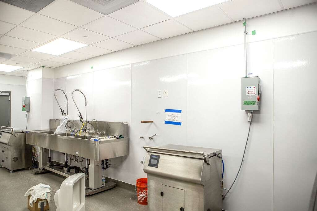 A sanitation room located within Vail Health's new medical center in Dillon is shown on Friday, August 27, 2021. The sanitation rooms are located directly beneath the operating rooms, which will perform orthopedic and pain management procedures.   Photo by Michael Yearout / Michael Yearout Photography
