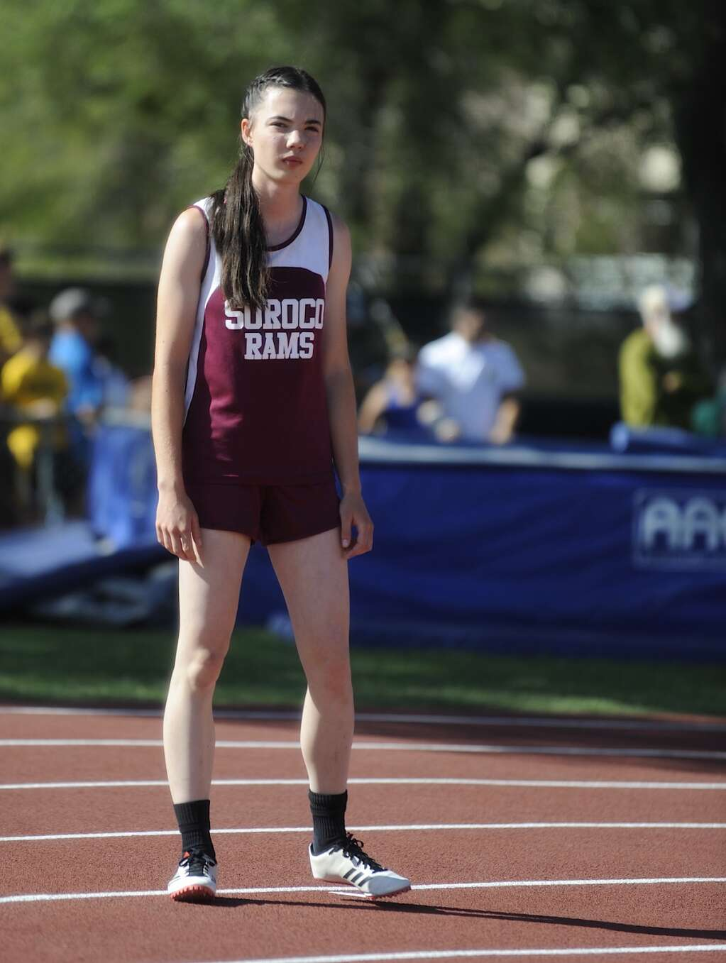 Soroco's Marissa Martindale gets serious ahead of the 4x100 prelims at the CHSAA Track and Field State Championships at JeffCo Stadium on Friday. (Photo by Shelby Reardon)