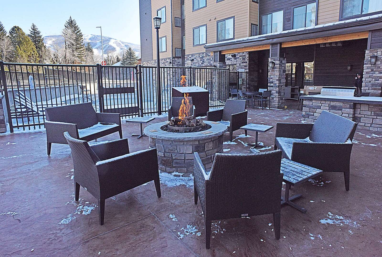 Guests will have access to an outdoor grill and a fire pit that creates a centerpiece for an outdoor seating area at the new Residence Inn by Marriott. (Photo by John F. Russell)