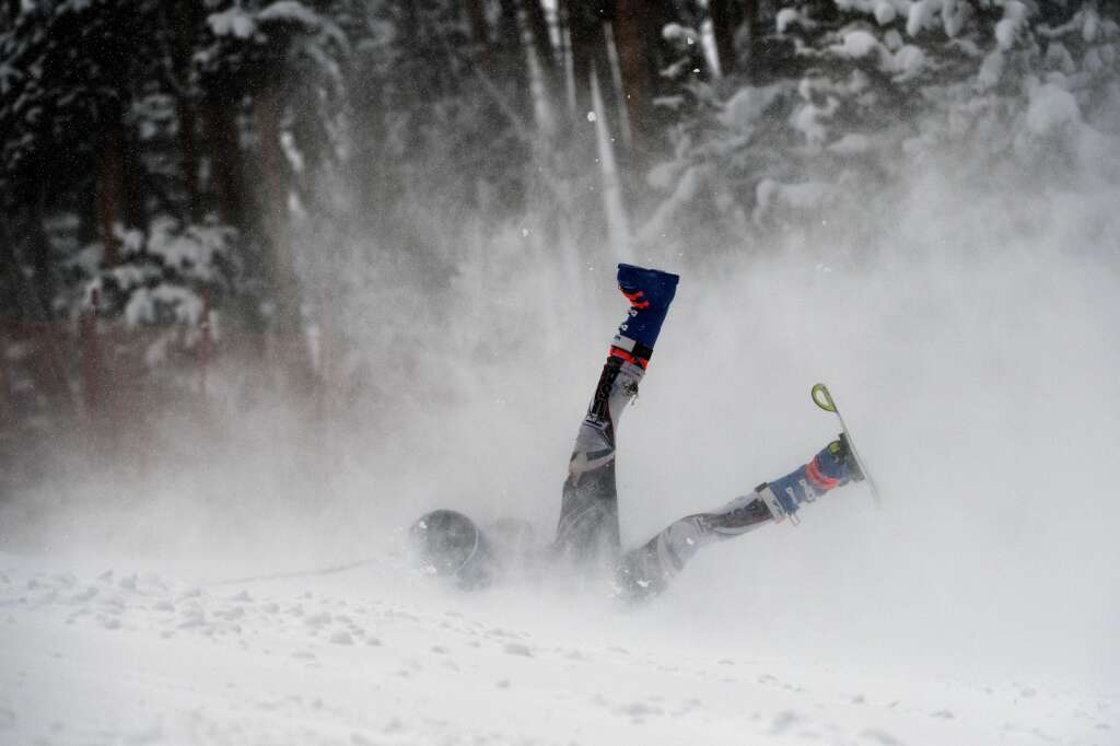 Steamboat Springs High School Alpine ski team racer Erik Sandvick crashes while racing in the giant slalom during a ski competition at Keystone Resort on Friday, Feb. 5, 2021. | Photo by Jason Connolly / Jason Connolly Photography