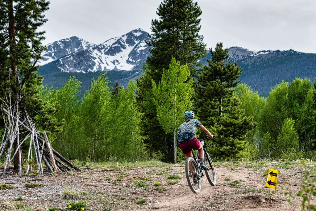 A mountain biker rides through some singletrack during the first race of the 2021 Summit Mountain Challenge race series, the Frisco Roundup, at the Frisco Peninsula Recreation Area in Frisco on Wednesday.   Photo by Joel Wexler / Rocky Mountain.Photography