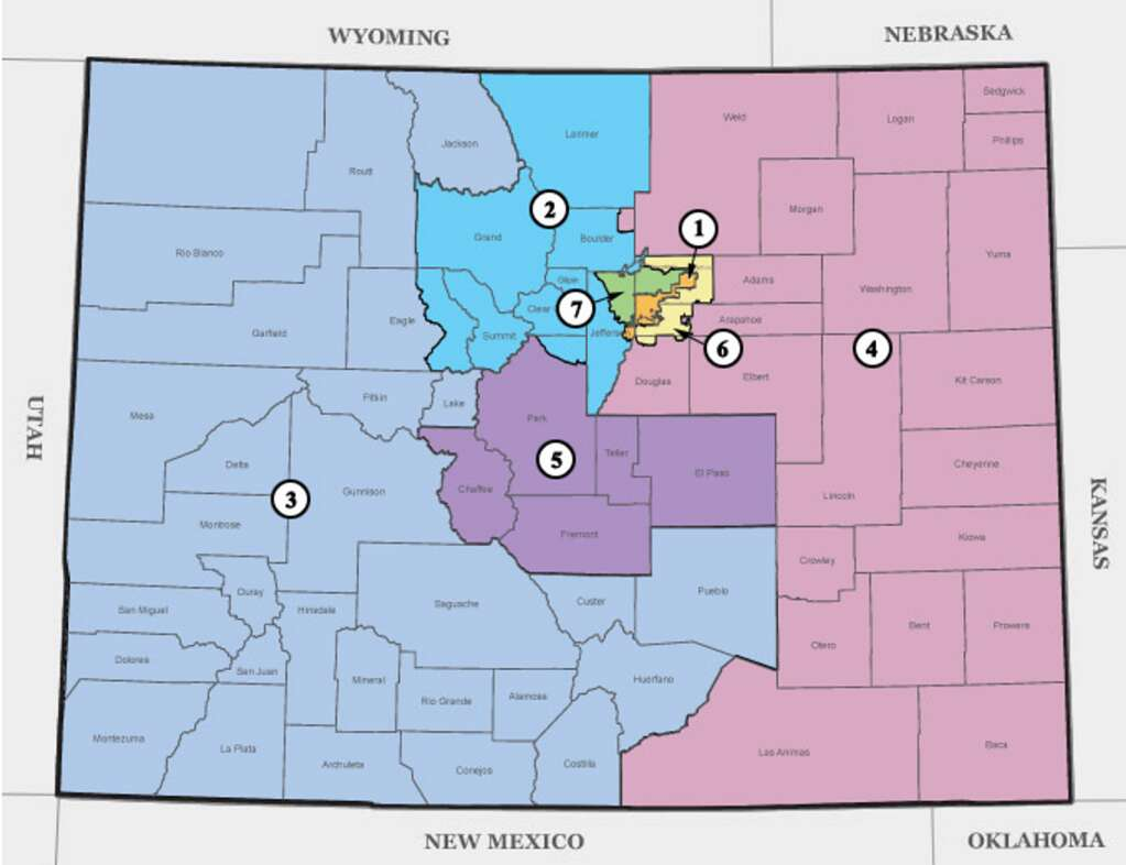 How Colorado's seven U.S. Congressional Districts were aligned after the 2010 census.