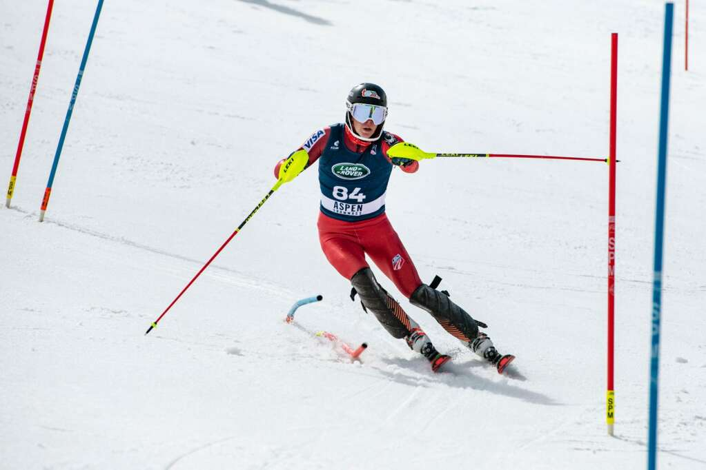 American alpine skier Bode Flanigan makes turns during the second run of the U.S. Alpine Championships at Aspen Highlands on Wednesday, April 7, 2021. (Kelsey Brunner/The Aspen Times)