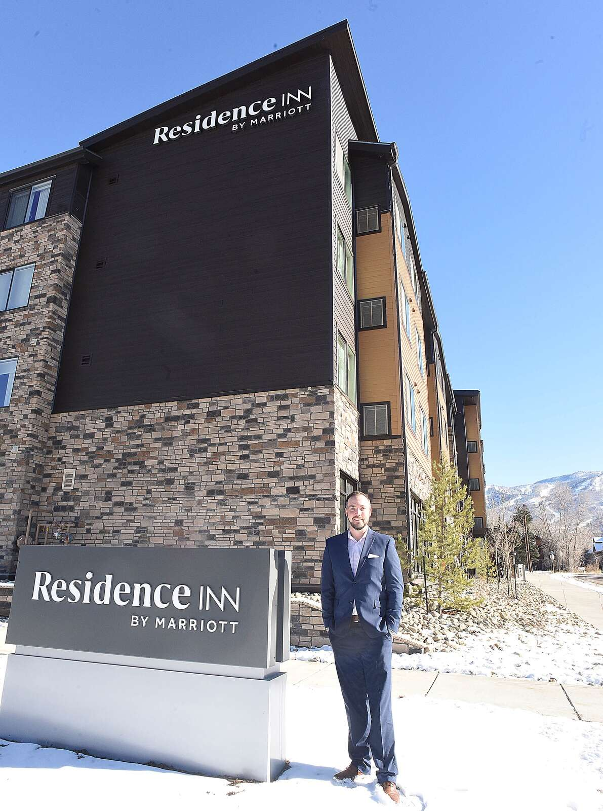 Grant D'Entremont, general manager at the Residence Inn by Marriott, stand outside the new Steamboat Springs hotel. (Photo by John F. Russell)