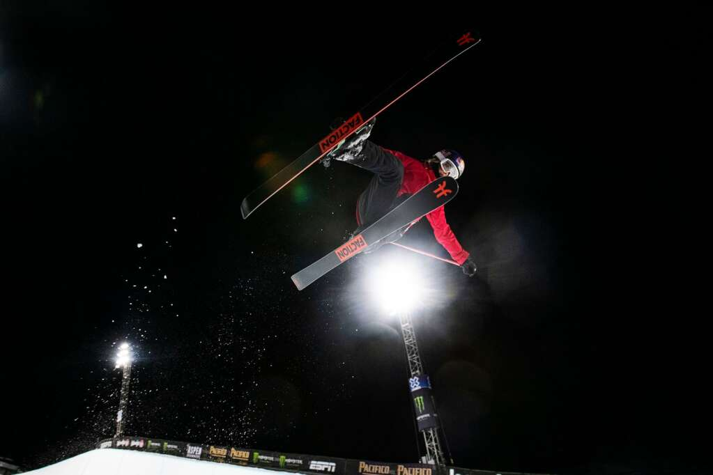 Freestyle skier Eileen Gu airs out of the superpipe during a practice for the 2021 X Games Aspen at Buttermilk on Thursday, Jan. 28, 2021. (Kelsey Brunner/The Aspen Times)