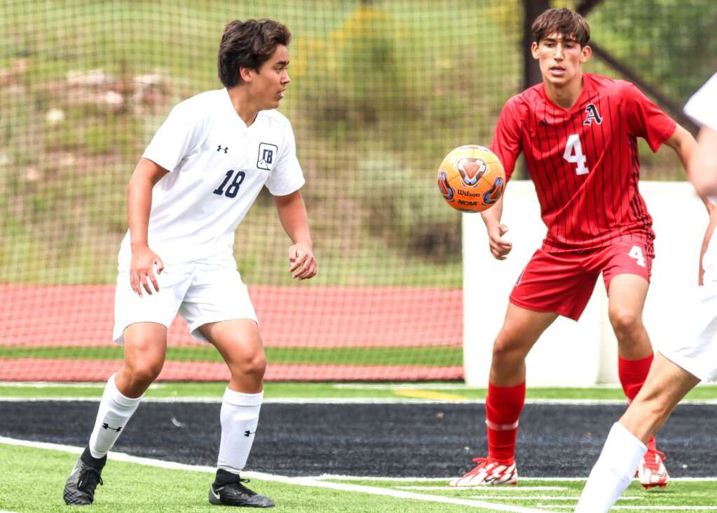 Aspen High School boys soccer plays Crested Butte on Saturday, Aug. 21, 2021, on the AHS turf.   Photo by Austin Colbert/The Aspen Times