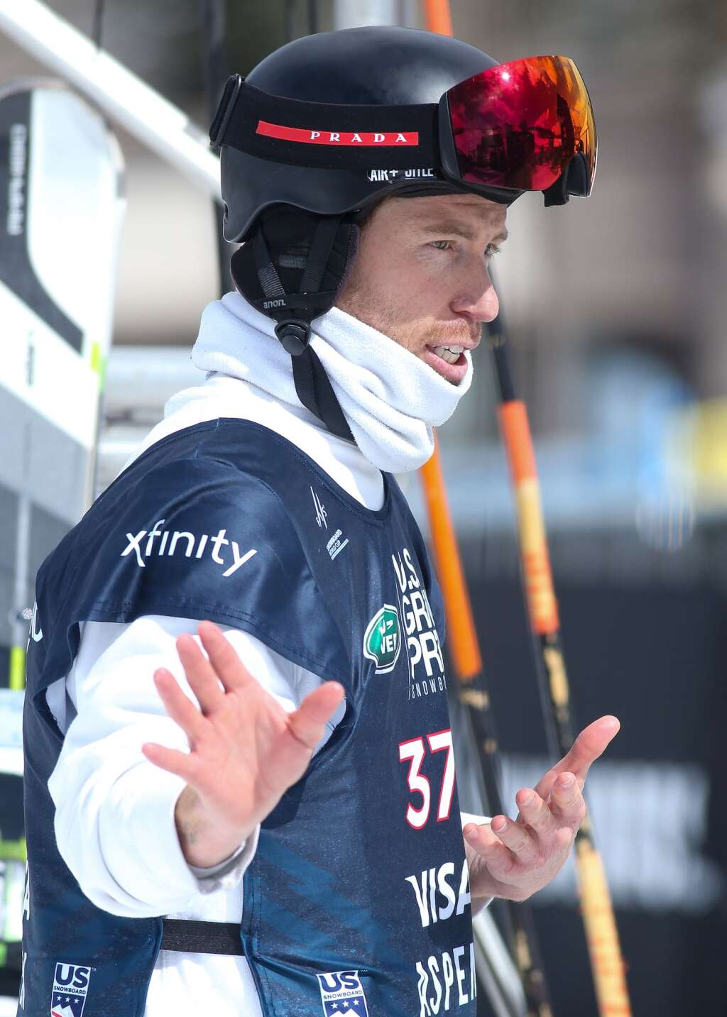 Shaun White talks through his second run during the men's snowboard halfpipe competition at the U.S. Grand Prix and World Cup on Sunday, March 21, 2021, at Buttermilk Ski Area in Aspen. Photo by Austin Colbert/The Aspen Times.