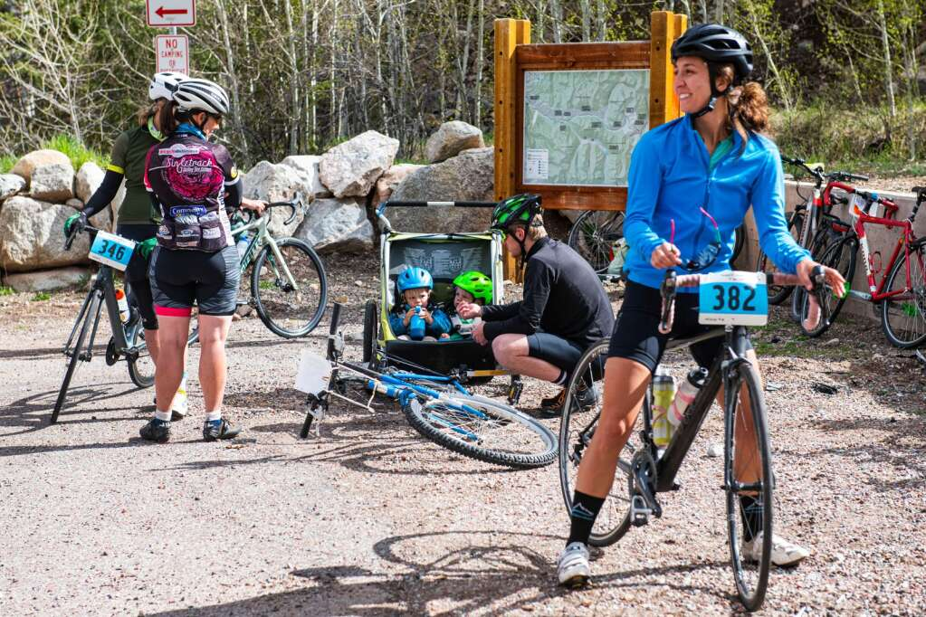 Bikers prepare for the 2021 annual Ride for the Pass event starting in Aspen on Saturday, May 22, 2021. (Kelsey Brunner/The Aspen Times)