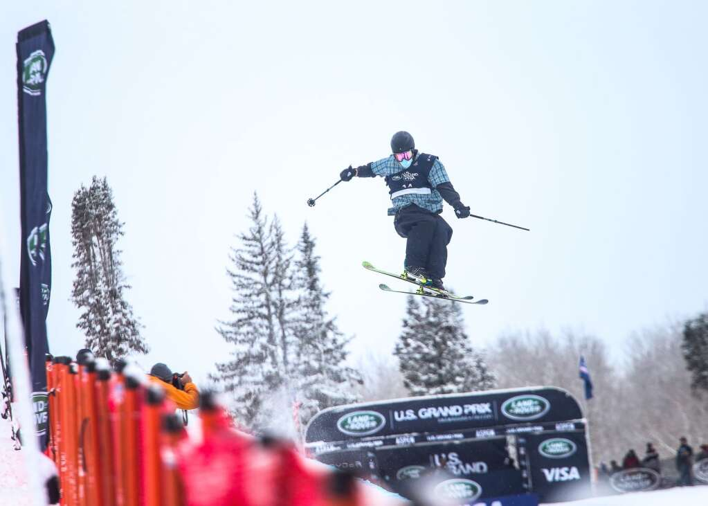 Hunter Hess competes in the men's freeski halfpipe finals of the U.S. Grand Prix on Sunday, March 21, 2021, at Buttermilk Ski Area in Aspen. Photo by Austin Colbert/The Aspen Times.