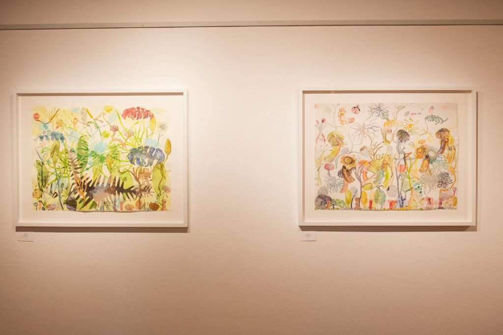 Artist Linda Lowry's watercolor and oil pieces hang in the Line and Form show at the Red Brick Center for the Arts in Aspen on Wednesday, June 2, 2021. (Kelsey Brunner/The Aspen Times)