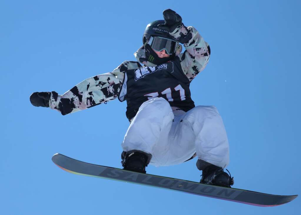 Lucas Foster competes in the men's snowboard halfpipe contest at the U.S. Revolution Tour stop on Thursday, Feb. 25, 2021, at Buttermilk Ski Area. Photo by Austin Colbert/The Aspen Times.
