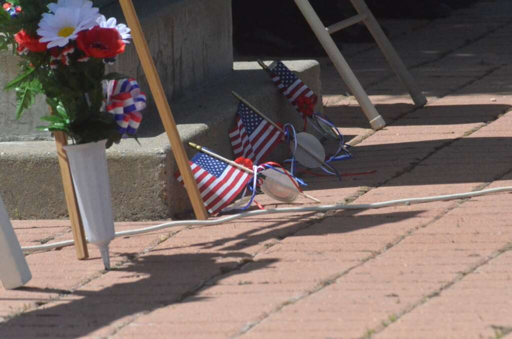Three flags were placed representing three Routt County veterans who died in action at a Memorial Day ceremony on Monday. (Photo by Dylan Anderson)