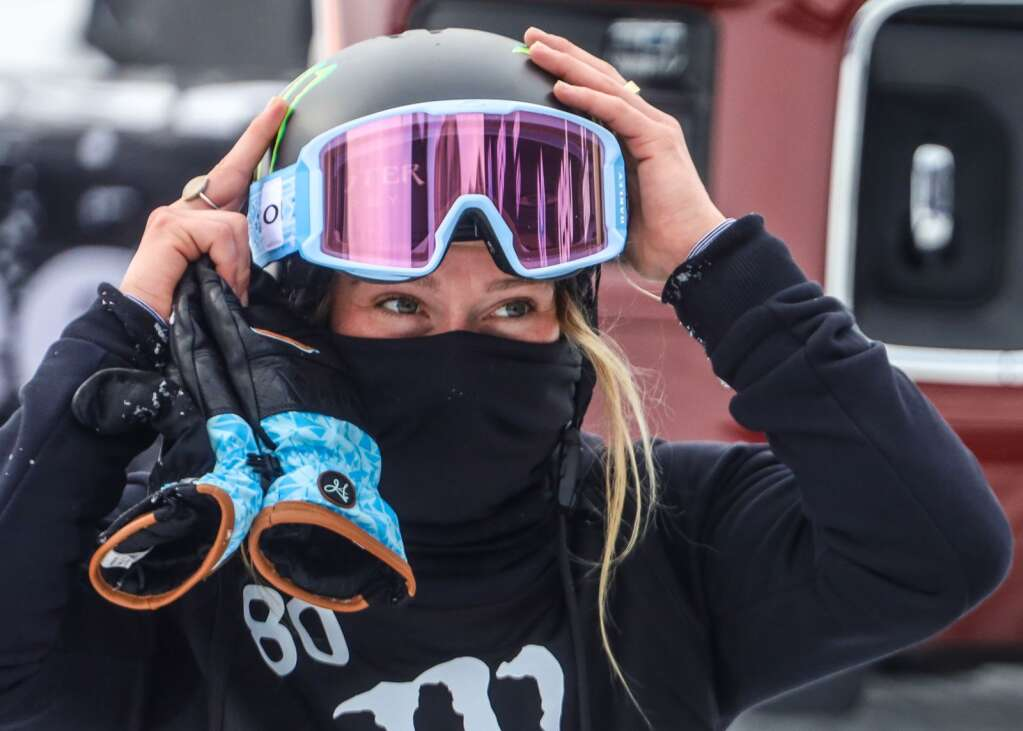 Jamie Anderson adjusts her helmet after her run in the women's snowboard slopestyle final on Friday, Jan. 29, 2021, at Buttermilk Ski Area in Aspen. (Photo by Austin Colbert/The Aspen Times)