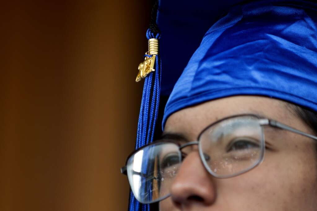 A golden 2021 hangs off the tassel of Matthew Martinez's graduation cap during the Snowy Peaks High School graduation Wednesday, May 26, at the Silverthorne Performing Arts Center in Silverthorne.   Photo by Jason Connolly / Jason Connolly Photography